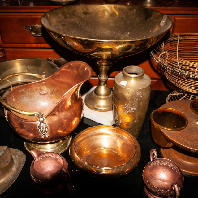 """""""Brass and Copper Goods in Antique Store"""" stock image"""