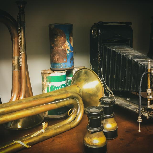"""Shelf full of Antique Items"" stock image"