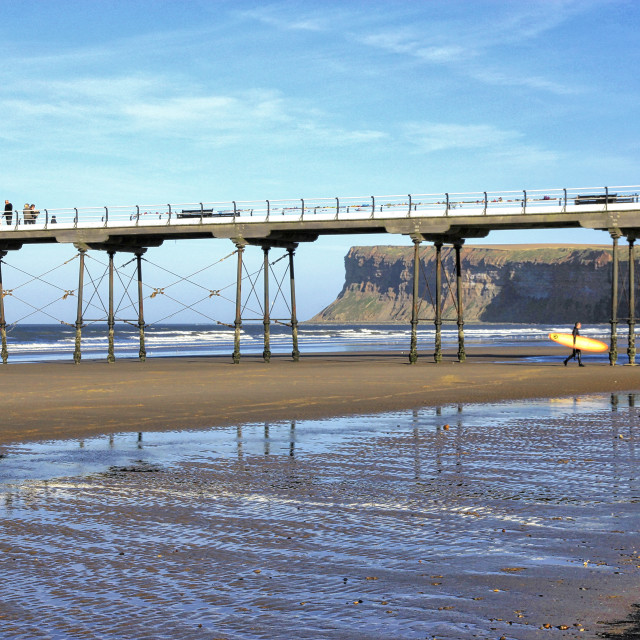 """""""Saltburn Pier with Hunt Cliff."""" stock image"""