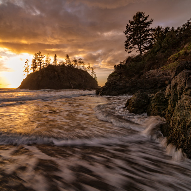 """Rocky Beach Landscape at Sunset, Trinidad, California"" stock image"