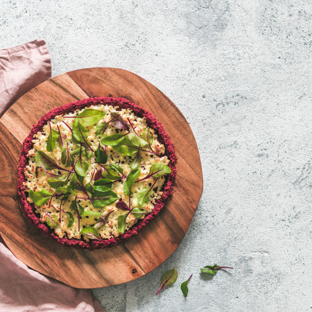 """""""beetroot pizza crust with fresh mangold leaves"""" stock image"""