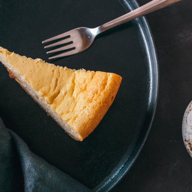 """""""Classic Cheesecake on dark background. Top view"""" stock image"""