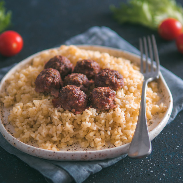 """Bulgur and meatball in plate"" stock image"