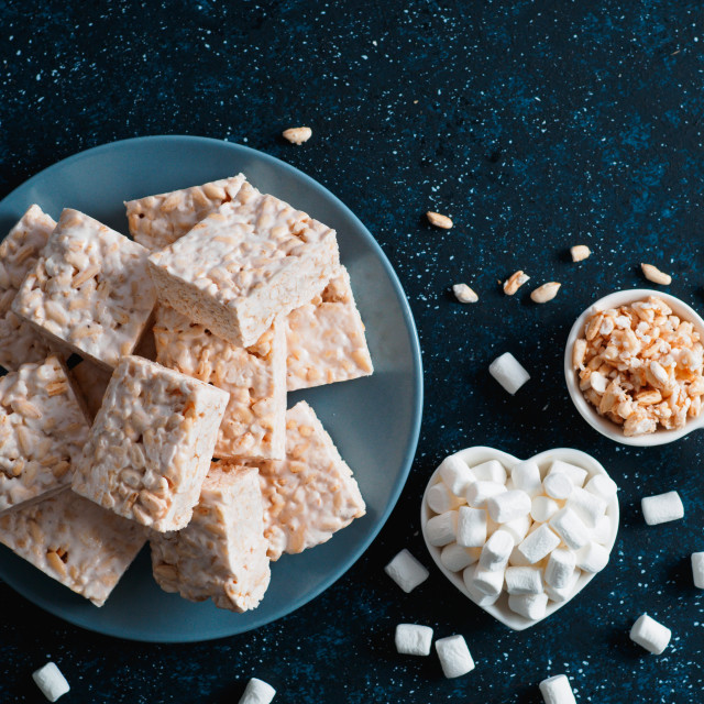 """Homemade bars of Marshmallow and crispy rice"" stock image"