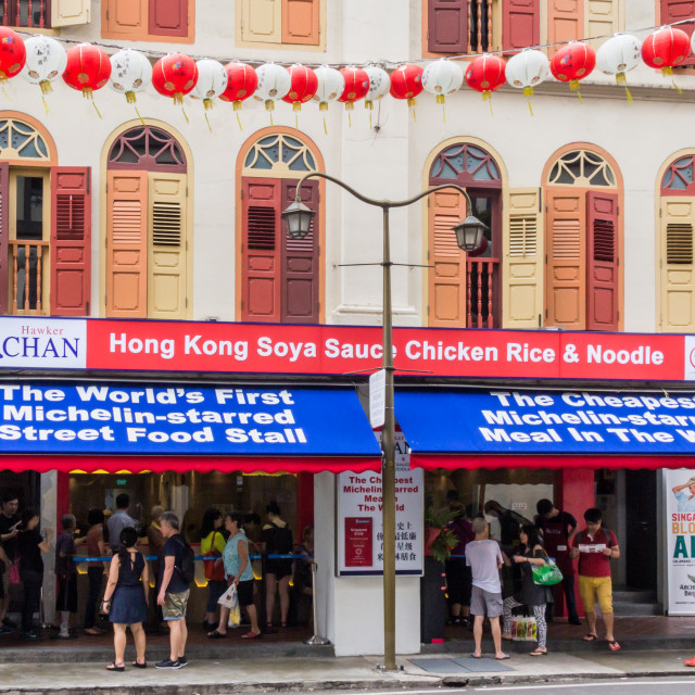 """Hawker Chan one star Michelin restaurant"" stock image"