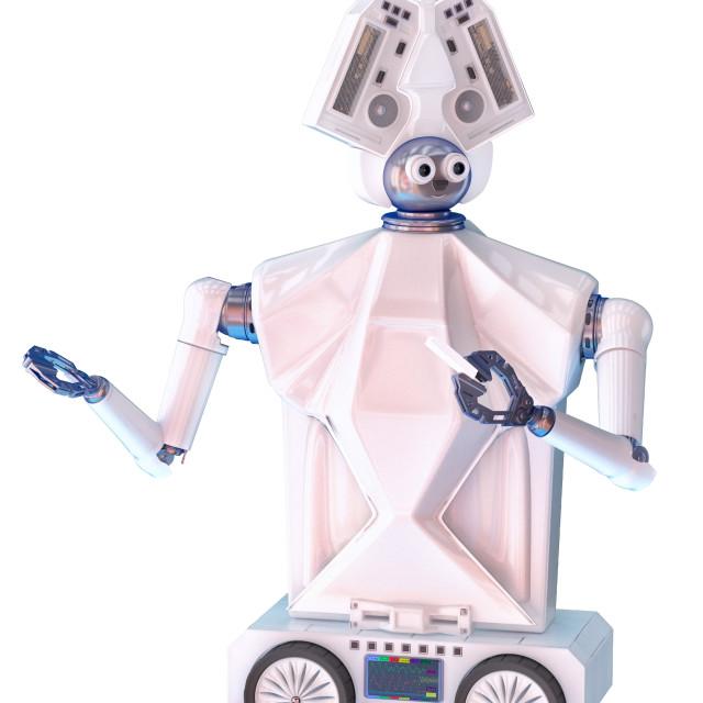 """""""Talking robot school teacher on wheel"""" stock image"""