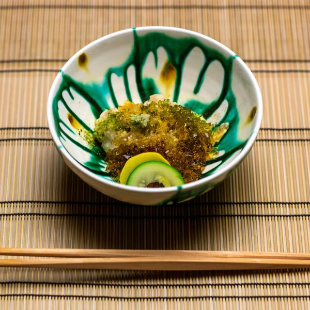 """""""Japanese bowl and chopsticks on a bamboo set, Ishikawa Prefecture, Kanazawa,..."""" stock image"""