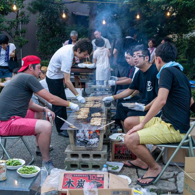 """Japanese people making a barebecue in Higashichaya old town, Ishikawa..."" stock image"