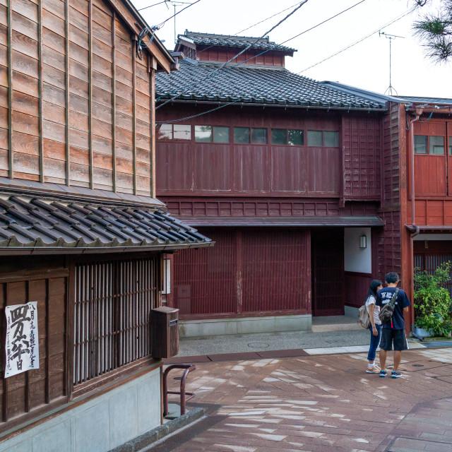 """Wooden houses in Higashichaya old town, Ishikawa Prefecture, Kanazawa, Japan"" stock image"