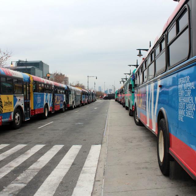 """New York Bus Stop"" stock image"