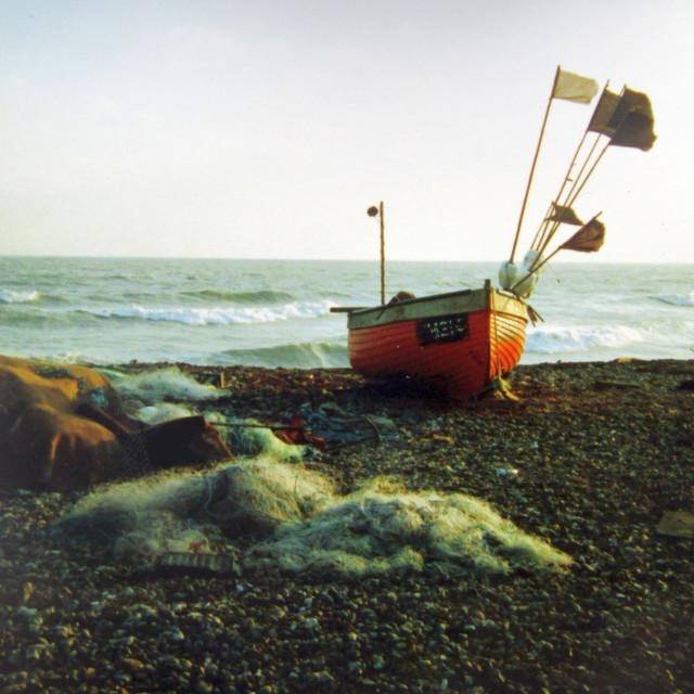 """Fishing boat onshore"" stock image"