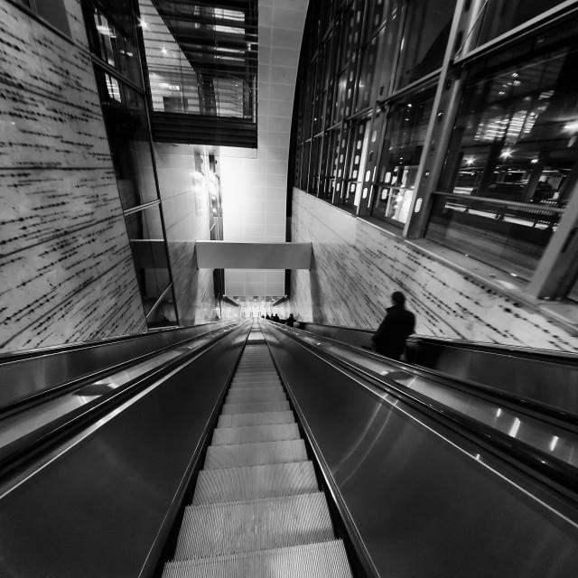 """Airport Escalator Corridor"" stock image"