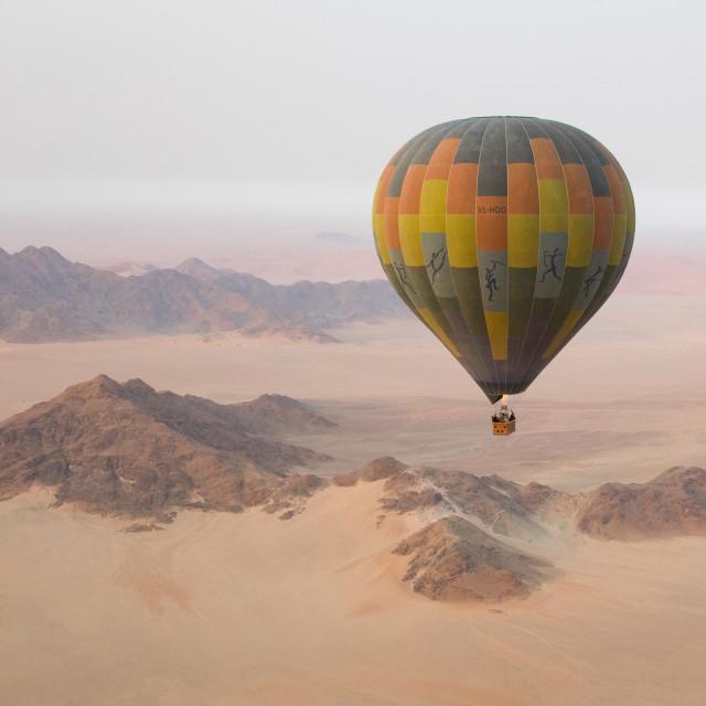"""Hot air balloon over Sossusvlei"" stock image"