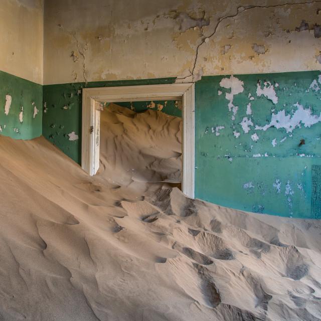 """""""Sand covered houses in Kolmanskop"""" stock image"""