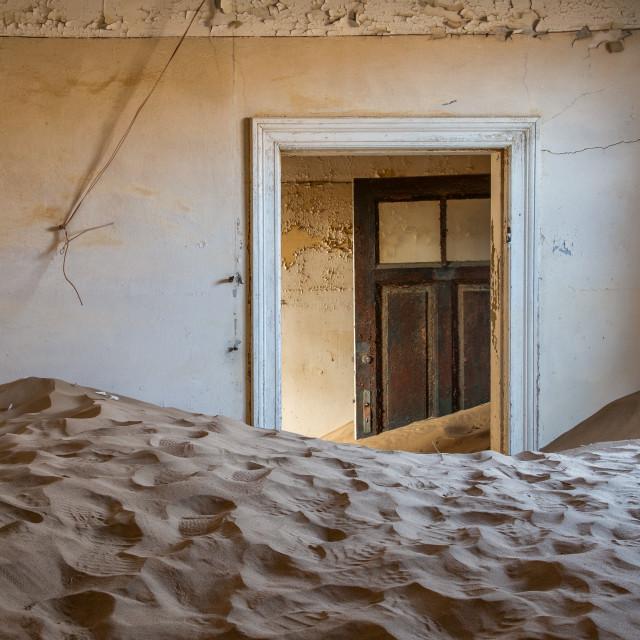 """""""Sand covered houses of Kolmanskop"""" stock image"""