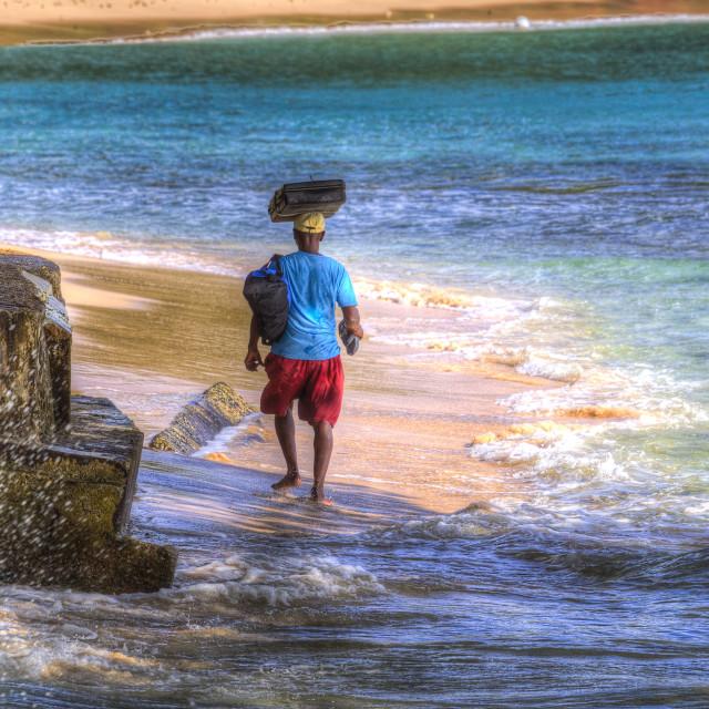 """Beach Vendor Barbados"" stock image"