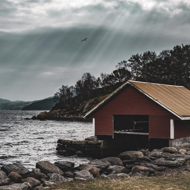 """Boathouse, Stavanger, Norway"" stock image"