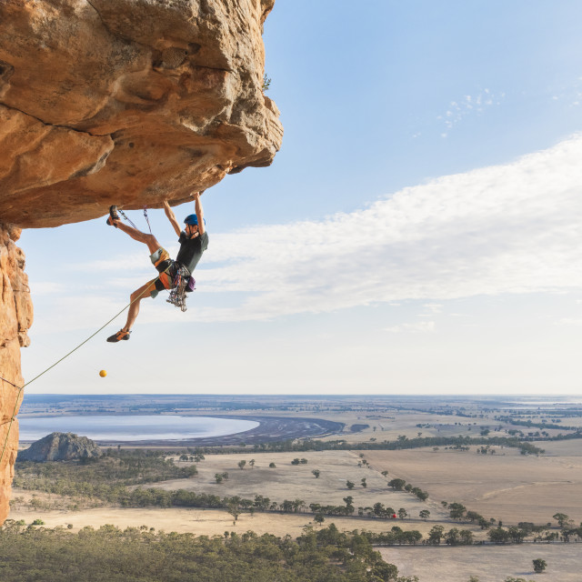 """Climbing in the Arapiles"" stock image"