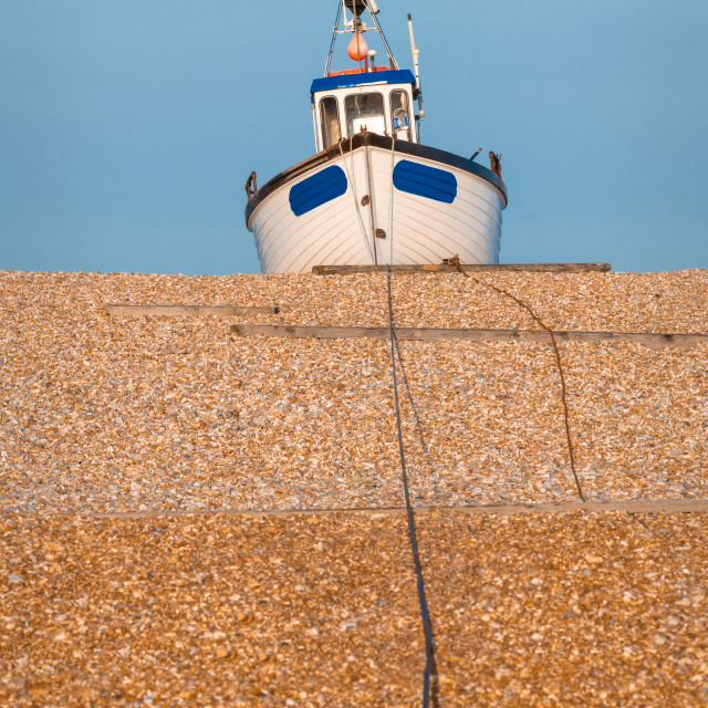 """Fishing Boat on Dungerness Beach, Kent"" stock image"