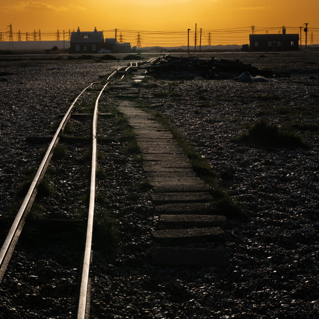 """Disused Railway Track, Dungerness Beach, Kent"" stock image"