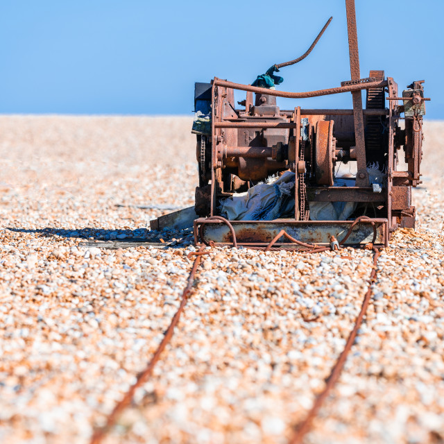 """Abandoned Rusty Winch, Dungerness, Kent"" stock image"