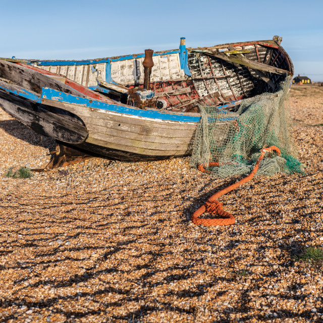 """Abandoned fishing boat, Dungerness, Kent"" stock image"
