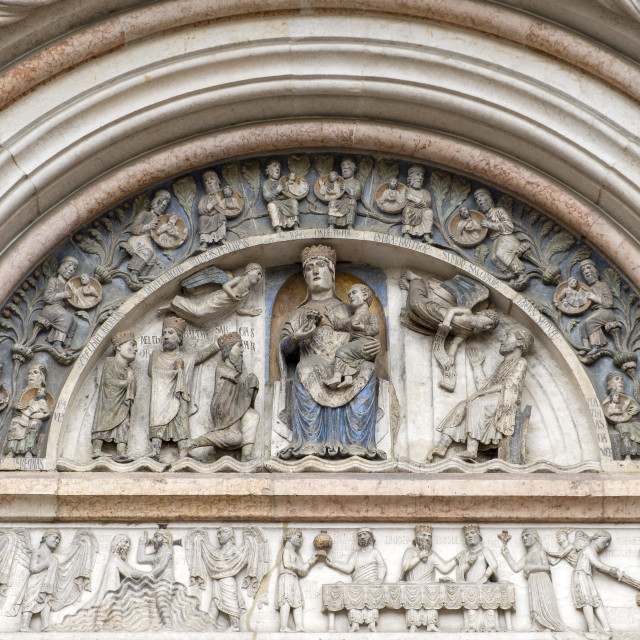 """""""Parma Baptistery bas-relief detail. Color image"""" stock image"""