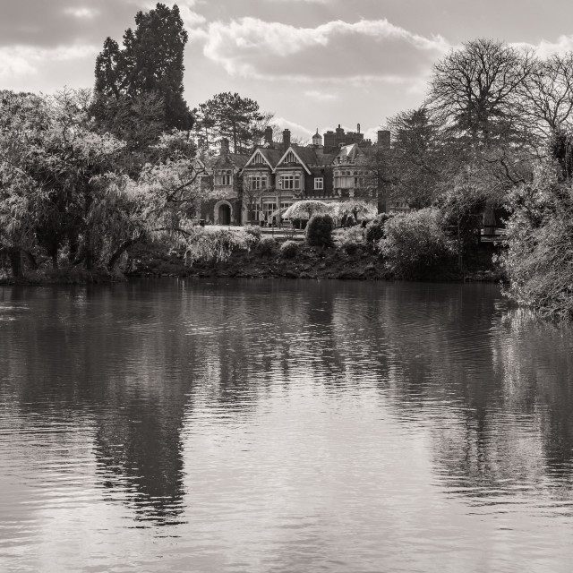 """Bletchley Park, House and Lake"" stock image"