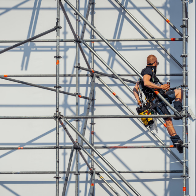 """""""Construction of the scaffolding for The Passion"""" stock image"""