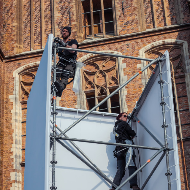 """""""Dordrecht cathedral, backdrop to The Passion"""" stock image"""
