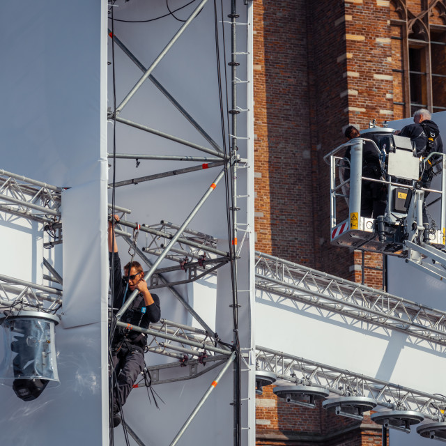 """""""Workers on the scaffolding used for The Passion"""" stock image"""