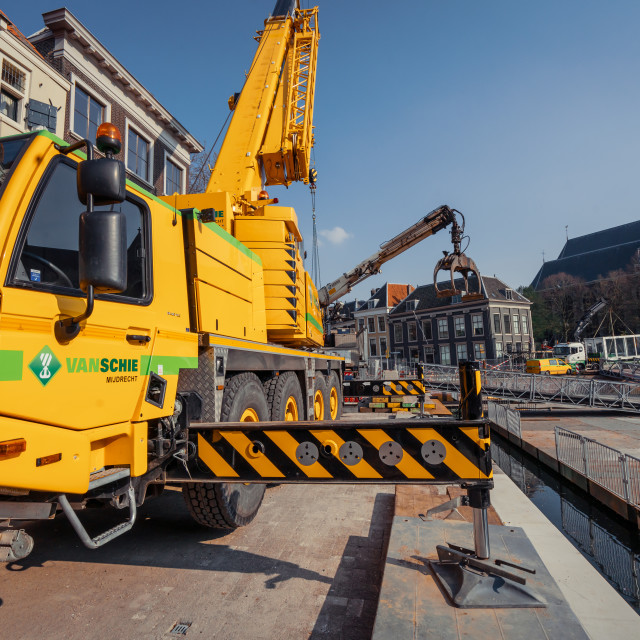 """""""Big yellow mobile crane used for The Passion"""" stock image"""
