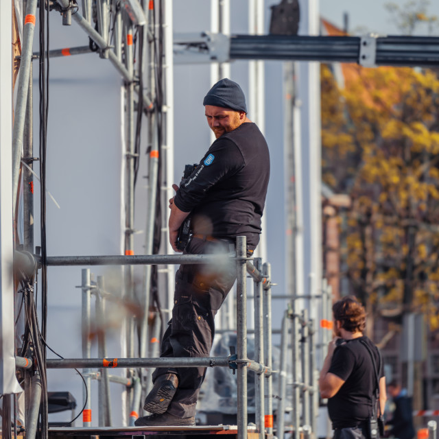 """""""Setting up the stage for the performance of The Passion"""" stock image"""