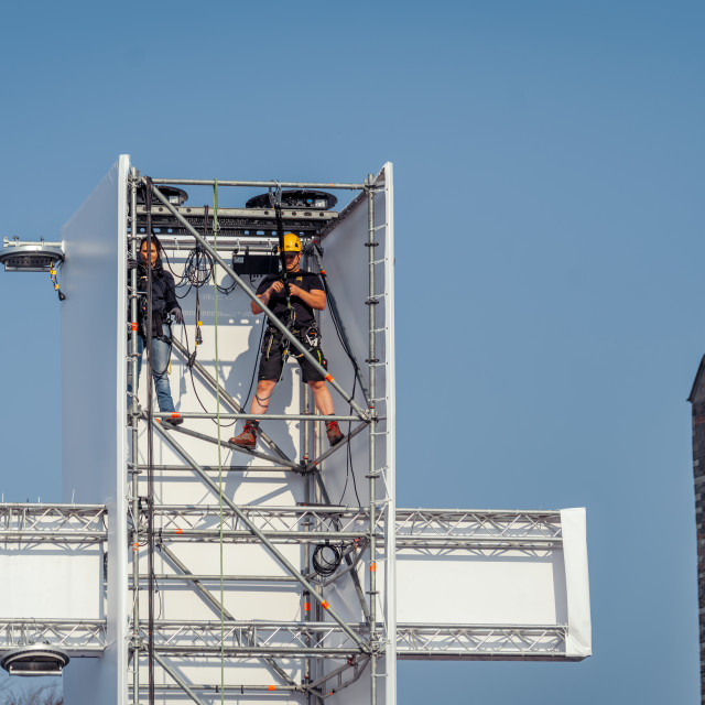 """""""Working on the scaffolding used for The Passion"""" stock image"""