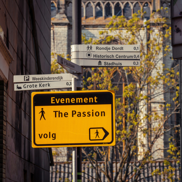 """""""Pedestrian signboard in preparation for The Passion"""" stock image"""