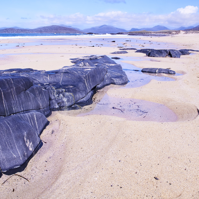 """Landscape, Traigh Mhor beach, Finger of rock"" stock image"