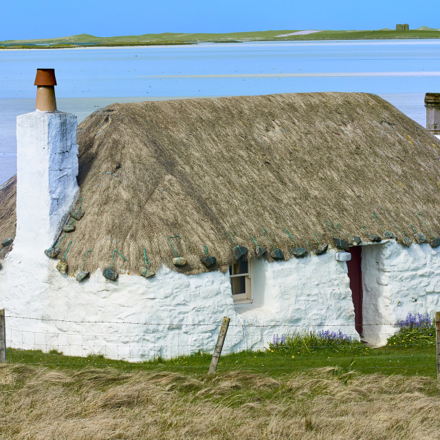 """Building, Cottage, Thatched, White walls"" stock image"
