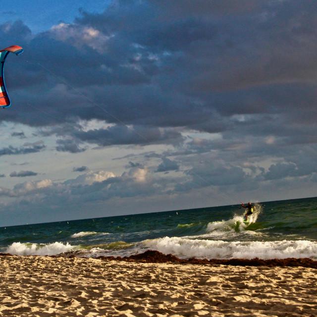 """Kite surfer in Ft. Lauderdale"" stock image"