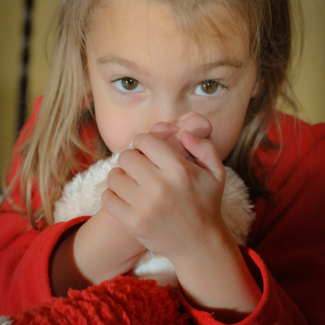"""Cute Little Girl Holding Stuffed Animal"" stock image"
