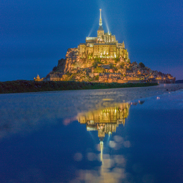 """Mont Saint Michel at Twilight"" stock image"