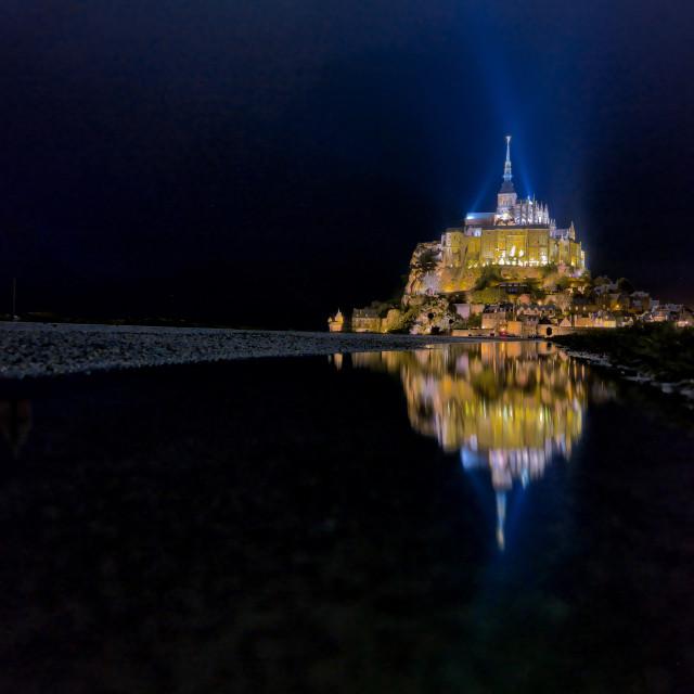 """Mont Saint Michel Night Reflection"" stock image"