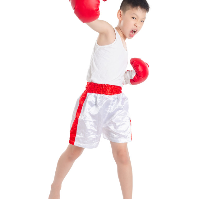 """boxer boy punching over white background"" stock image"