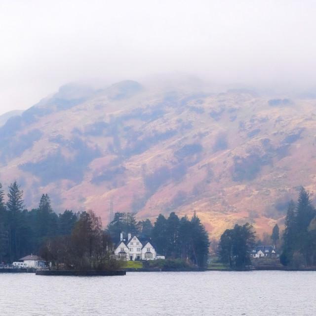 """""""Stronachlachar from Loch Katrine"""" stock image"""