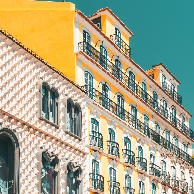 """Colorful Apartment Building Facade In Lisbon, Portugal"" stock image"