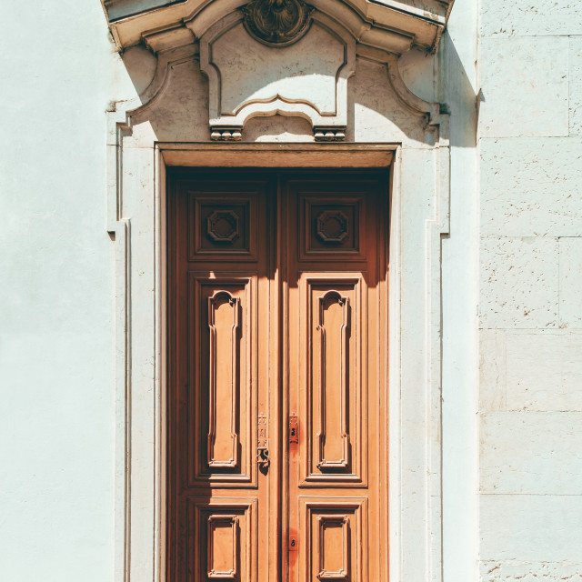 """Old Wood Door In Lisbon, Portugal"" stock image"