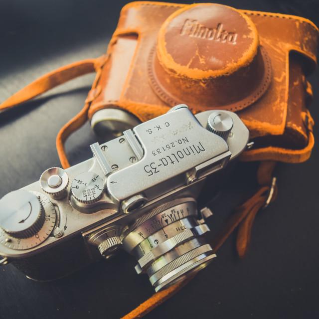 """Leica Style Vintage Minolta Camera - Branded"" stock image"