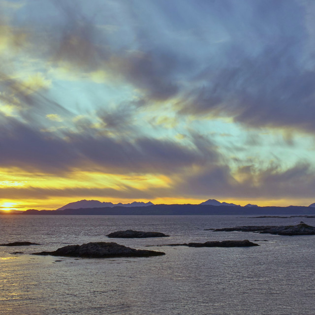 """Sunset, Skye, Point of Sleat, Cirrus clouds"" stock image"