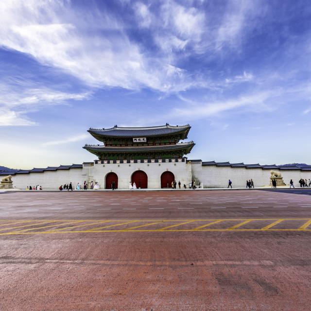 """Seoul , South Korea - April 8,2019 : Spring at Gyeongbokgung palace best landmark in Seoul,South Korea"" stock image"