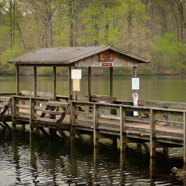 """James Allen Pier at Chambers County Fishing Lake in Alabama"" stock image"