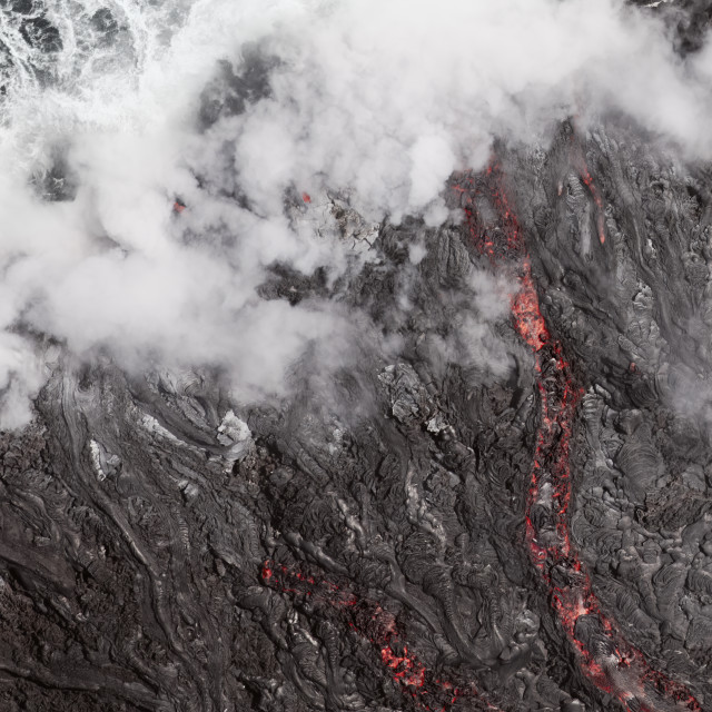 """Lava Flow Into The Ocean, Hawaii"" stock image"